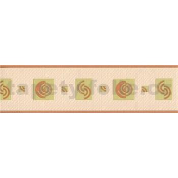 Vinylová bordura moderní vzor zeleno-hnědý 5 m x 8 cm