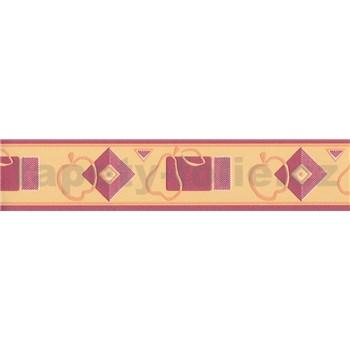 Bordura kuchyňský vzor oranžovo-červený 5 m x 7 cm - POSLEDNÍ KUSY