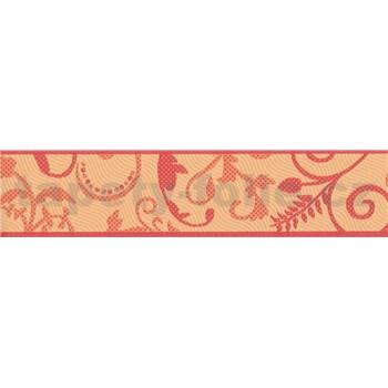 Bordura listy oranžovo-vínové 5 m x 7 cm