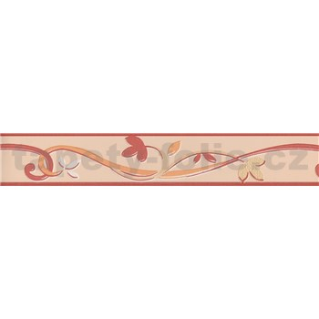 Moderní bordura popínavé lístky - červená 5 m x 4,5 cm