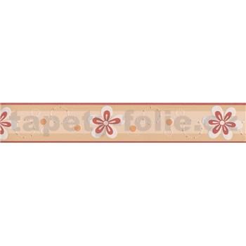 Moderní bordura s květinkami - červená