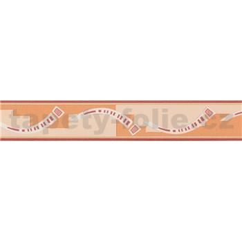 Moderní bordura abstraktní obloučky - červená 5 m x 4,5 cm