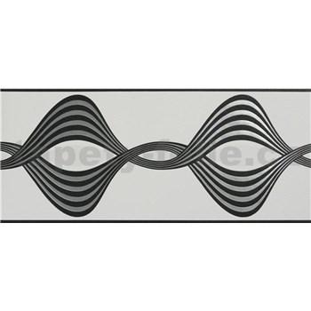Vliesové bordury vlnovky černo-stříbrné na bílém podkladu rozměr 5 m x 17 cm