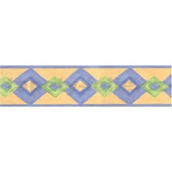 Samolepící bordura moderní vzor fialovo-zelený 10 m x 5,3 cm