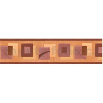 Samolepící bordura čtverce hnědé 10 m x 5,3 cm