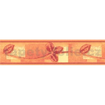 Samolepící bordura lístky červeno-žluté 10 m x 5,3 cm