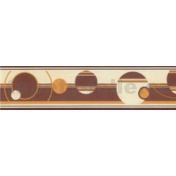 Samolepící bordury abstraktní kruhy hnědo-oranžové 5 m x 5 cm