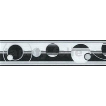 Samolepící bordury abstraktní kruhy černo-bílé 5 m x 5 cm
