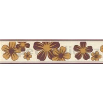 Samolepící bordury květy okrově-hnědé 5 m x 5 cm