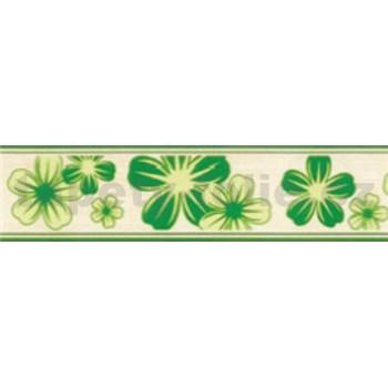 Samolepící bordury květy zelené 5 m x 5 cm