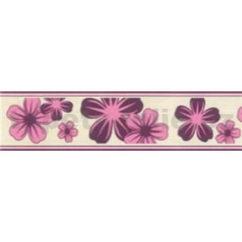 Samolepící bordury květy fialové 5 m x 5 cm