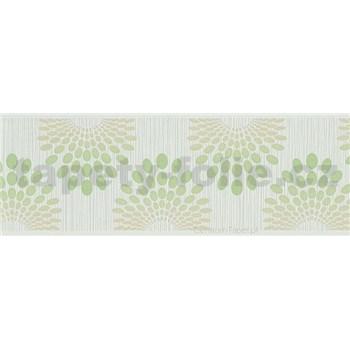 Vliesové bordury tečky zelené na šedém podkladu s proužky rozměr 5 m x 13 cm