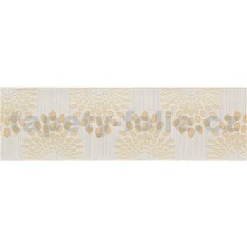 Vliesové bordury tečky hnědé na krémovém podkladu s proužky rozměr 5 m x 13 cm