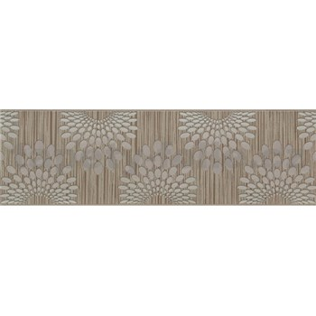 Vliesové bordury tečky šedé na hnědém podkladu s proužky rozměr 5 m x 13 cm