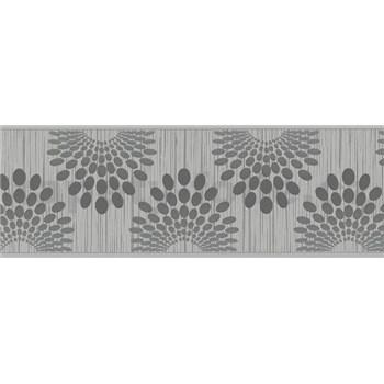 Vliesové bordury tečky černé na šedém podkladu s proužky rozměr 5 m x 13 cm