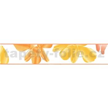 Samolepící bordura květinky oranžovo-žluté 5 m x 5,8 cm