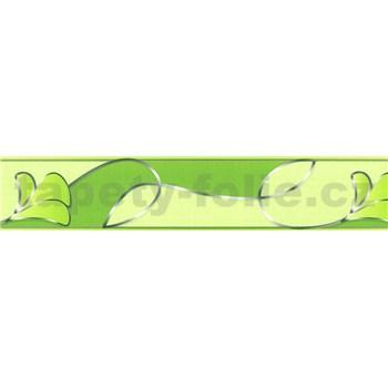 Samolepící bordura květy s vlnovkami zelené 5 m x 5,8 cm