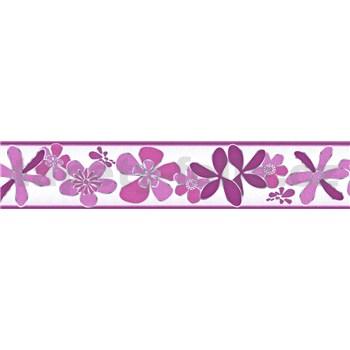 Samolepící bordura květy fialové 5 m x 5,8 cm