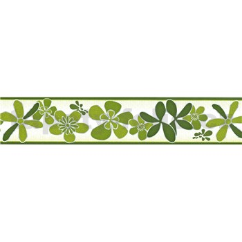 Samolepící bordura květy zelené 5 m x 5,8 cm