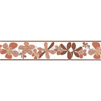 Samolepící bordura květy hnědé 5 m x 5,8 cm