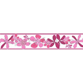 Samolepící bordura květy růžové 5 m x 5,8 cm