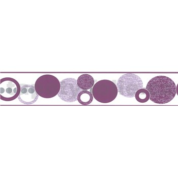 Samolepící bordura kruhy fialové 5 m x 5,8 cm