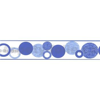 Samolepící bordura kruhy modré 5 m x 5,8 cm