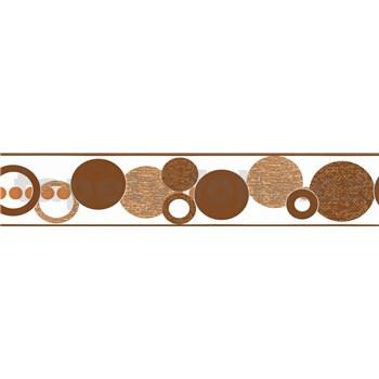 Samolepící bordura kruhy hnědé 5 m x 5,8 cm
