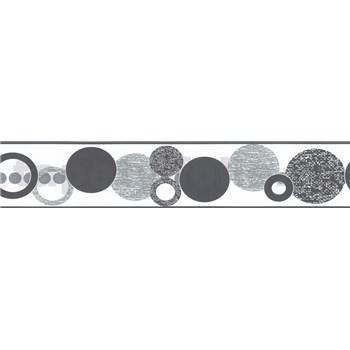 Samolepící bordura kruhy šedé 5 m x 5,8 cm