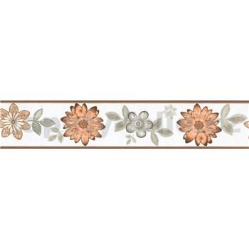 Samolepící bordura květy s lístky hnědo-šedé 5 m x 5,8 cm