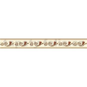 Samolepící bordura ornamenty hnědé s květy 5 m x 5,8 cm