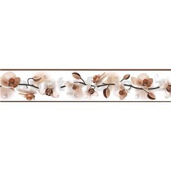 Samolepící bordura květy orchidejí hnědé 5 m x 5,8 cm