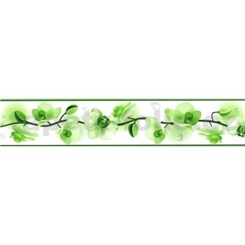 Samolepící bordura květy orchidejí zelené 5 m x 5,8 cm