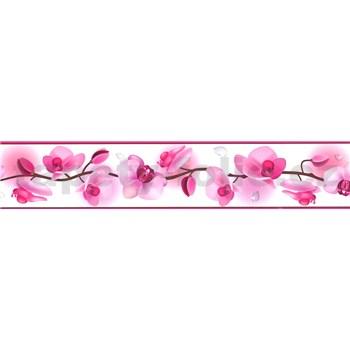 Samolepící bordura květy orchidejí růžové 5 m x 5,8 cm