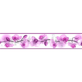 Samolepící bordura květy orchidejí fialové 5 m x 5,8 cm