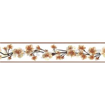 Samolepící bordura třešňové květy hnědé 5 m x 5,8 cm