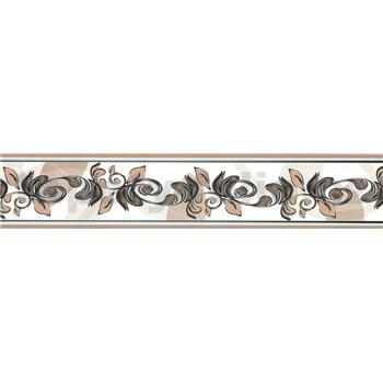 Samolepící bordura ornamenty hnědé 5 m x 5,8 cm