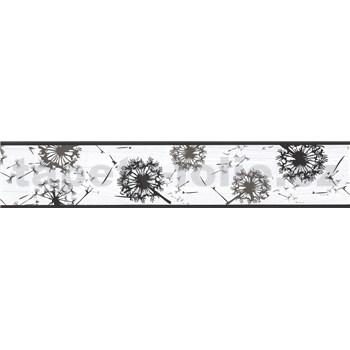 Samolepící bordura pampelišky šedo-černé 5 m x 5,8 cm