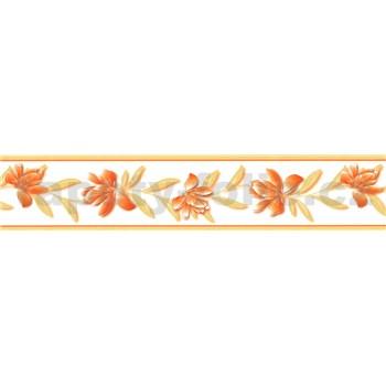 Samolepící bordura květy oranžové se béžovými listy 5 m x 5,8 cm