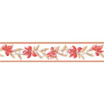 Samolepící bordura květy červené se hnědými listy 5 m x 5,8 cm