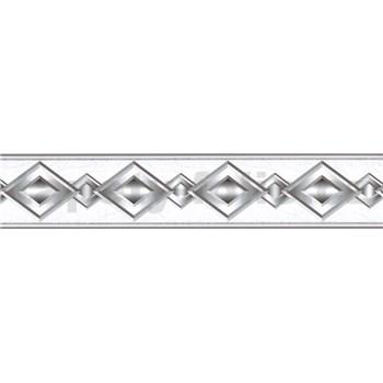 Samolepící bordura geometrický vzor šedý 5 m x 5,8 cm