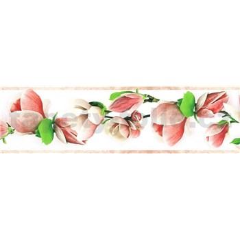 Samolepící bordura větve s květy růžové 5 m x 8,3 cm