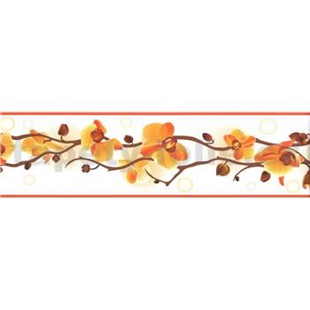 Samolepící bordura orchidej žluto- hnědá 5 m x 8,3 cm