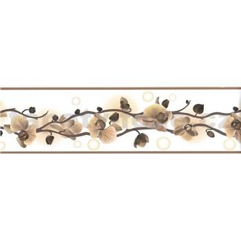 Samolepící bordura orchidej hnědá 5 m x 8,3 cm