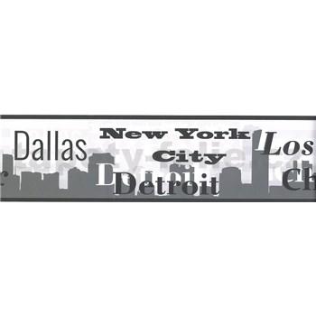 Samolepící bordura nápisy měst šedé 5 m x 8,3 cm