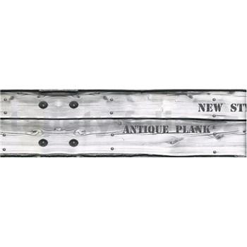 Samolepící bordura dřevo šedé s nápisy 5 m x 8,3 cm