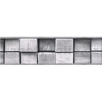 Samolepící bordura dřevěné špalky šedé 5 m x 8,3 cm