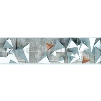 Samolepící bordura 3D geometrický vzor šedo-hnědý 5 m x 8,3 cm