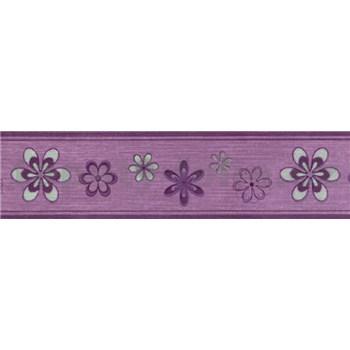 Samolepící bordura květy fialovo-stříbrné 5 m x 5 cm