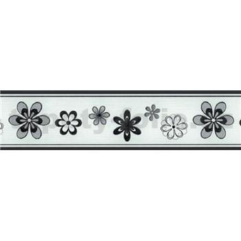 Samolepící bordura květy černo-stříbrné 5 m x 5 cm